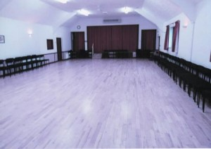 Large Hall, looking from the door to the stage